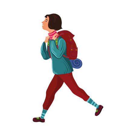 Dark-haired camper girl in the sweater with a backpack. Vector illustration in flat cartoon style.