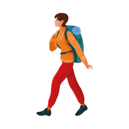 Brown-haired camper girl in the sweater with a backpack. Vector illustration in flat cartoon style. Ilustrace