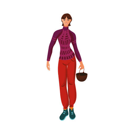 Brown-haired camper girl in the sweater standing with a cauldron. Vector illustration in flat cartoon style.
