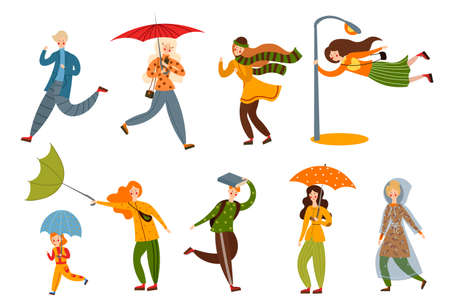 Set of various people on a rainy and windy day. Vector illustration in flat cartoon style. Vector Illustratie