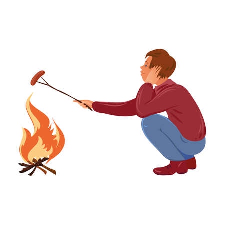 Brown-haired camper boy in the sweater roasting sausage over the campfire. Vector illustration in flat cartoon style.