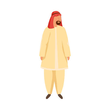Arab man in traditional ethnic wearing a red gutra . Vector illustration in flat cartoon style Vettoriali