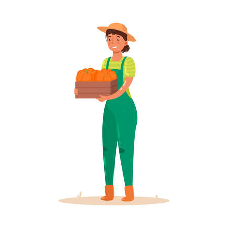 Girl farmer holding a wooden box with a crop of vegetables. Vector illustration in flat cartoon style.