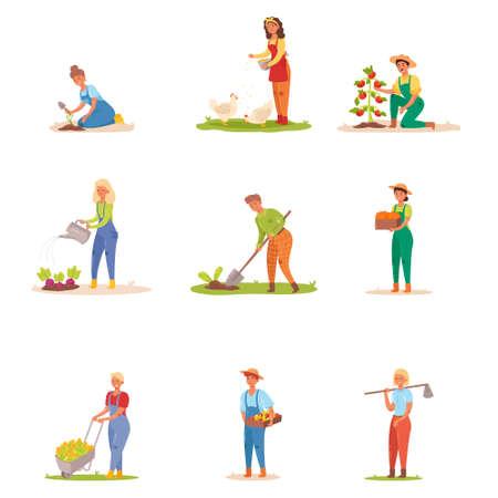 Set di giardinieri che lavorano nella fattoria. Illustrazione vettoriale in stile cartone animato piatto.
