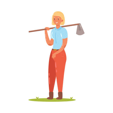 ute farmer stands with a hoe on her shoulder. Vector illustration in flat cartoon style.