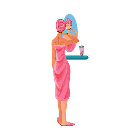 Girl in bathrobe and towel cleaning her teeth vector illustration