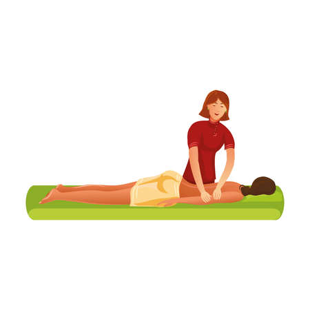 Smiling masseur standing and making massage of arms vector illustration