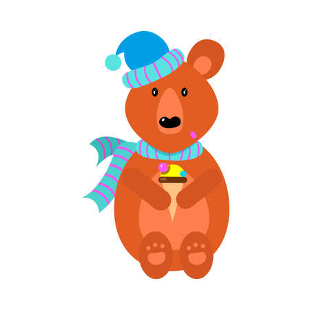 Cute brown bear in scarf and hat sitting with ice cream.