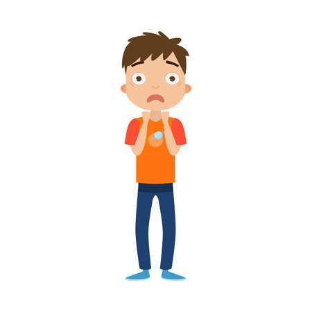 The cute brown-haired boy standing in blue pants with a scared face. Illustration