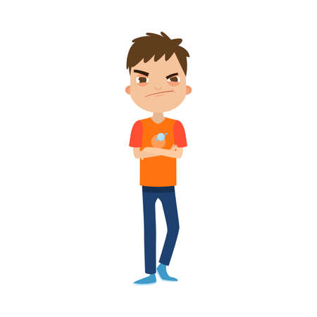 The cute brown-haired boy standing in blue pants with the dissatisfied face.