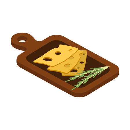 Pieces of cheese with rosemary on board illustration