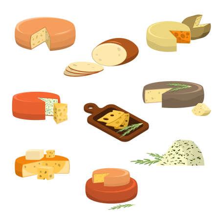 Set of different types of fresh cheese illustration Иллюстрация