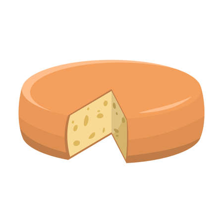 Fresh yellow cheese head with piece missing illustration
