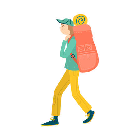 Young man with backpack going for camping illustration