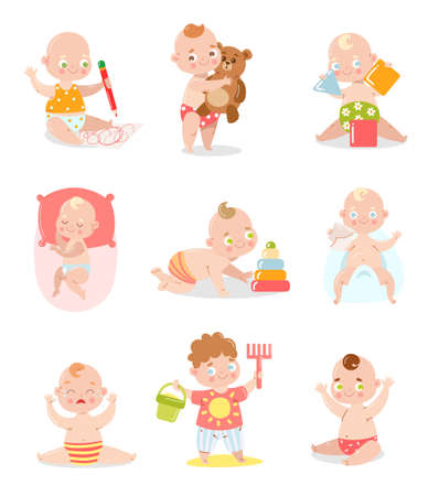 Set of a cute baby in underpants with different situations.