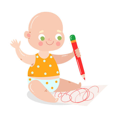 Cute happy smiling baby in white underpants draws with red pencil.
