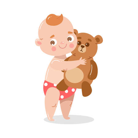 Cute happy smiling baby in red underpants standing and holding a teddy bear. Illustration