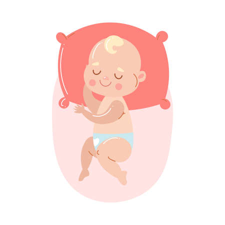 Cute happy baby in white underpants sleeping on a red pillow.