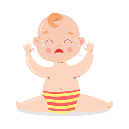 Cute baby in striped underpants sitting and crying. Stock Illustratie