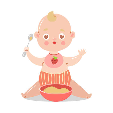 Cute baby in striped red underpants sitting with a bowl of porridge and holding a spoon with raised hands. Stock Illustratie