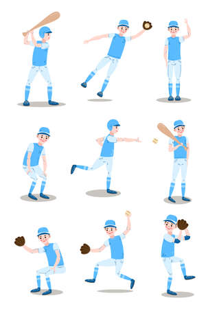 Set of baseball player characters in different actions.
