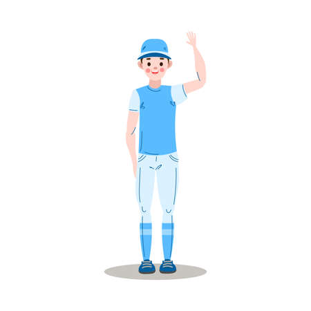 The teenage boy baseball player waving.