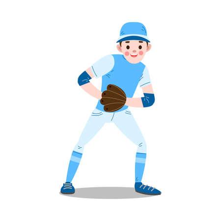 Boy in baseball glove looking at ball vector illustration