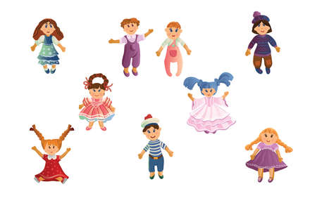 Set of cute baby dolls in different clothes and with varied hairstyles.