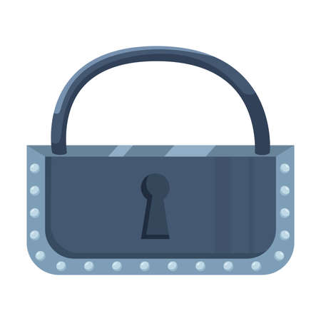 Hand drawn silver metallic lock with keyhole over white background vector illustration. Protection and safety concept