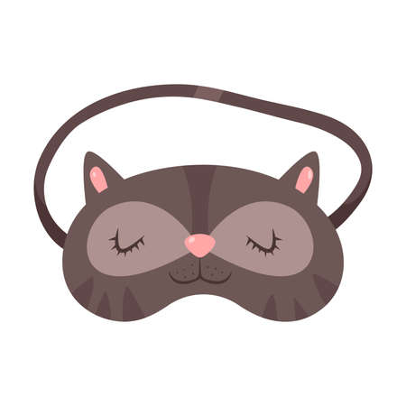 Grey sleeping mask in cat shape with eyes vector illustration