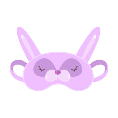 Hand drawn purple mask for sleeping in bear face shape with eyes and ears over white background vector illustration. Comfort sleeping concept