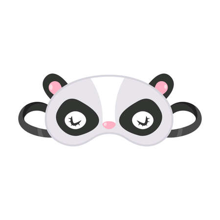 Hand drawn mask for sleeping in panda bear face shape with black eyes and ears over white background vector illustration. Comfort sleeping concept Illusztráció