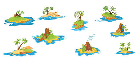 Collection set of different scenes of islands with huts, tropical trees, mountains, volcano, and waterfall. Colorful vector flat isolated icons set on white background.