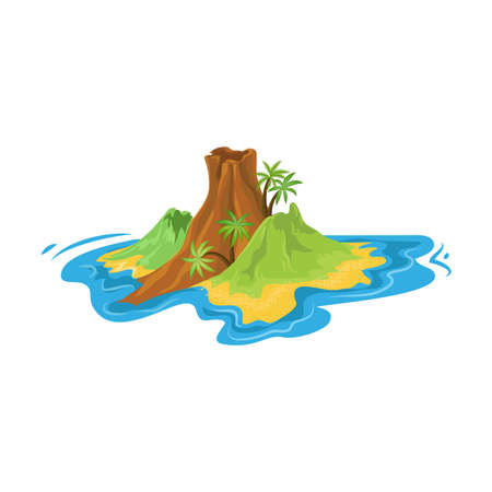 Tropical small island in the ocean with volcano, mountains and palm trees. Small island concept. Isolated vector icon illustration on white background in cartoon style.