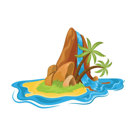 Waterfall on the tropical small desert island with palm trees. Vector illustration in flat cartoon style.