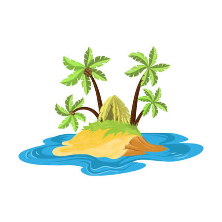 Tropical island in the ocean with the foliage hut surrounded by palm trees with coconuts. Small islands concept. Isolated vector icon illustration on white background in cartoon style.