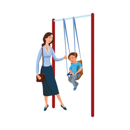 Brown-haired mother in blue long skirt swinging her son on a swing in the playground. Parents with children concept. Isolated vector icon illustration on white background in cartoon style. Illusztráció