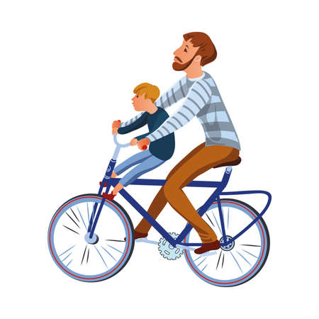 Brown-haired bearded father with his son riding on the bicycle. Happy family riding concept. Isolated vector icon illustration on white background in cartoon style.