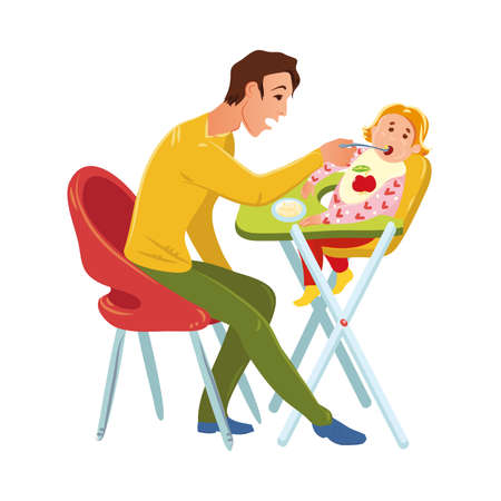 Brown-haired father sitting on a red chair and feeding his baby with a spoon. Cute light-haired child sitting in the high chair. Family time concept. Vector illustration on white background. Vettoriali