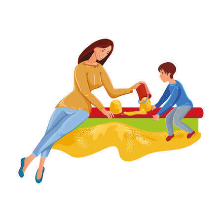 Cute mother playing in sandbox with her son. Vector illustration in flat cartoon style. Archivio Fotografico - 134704878