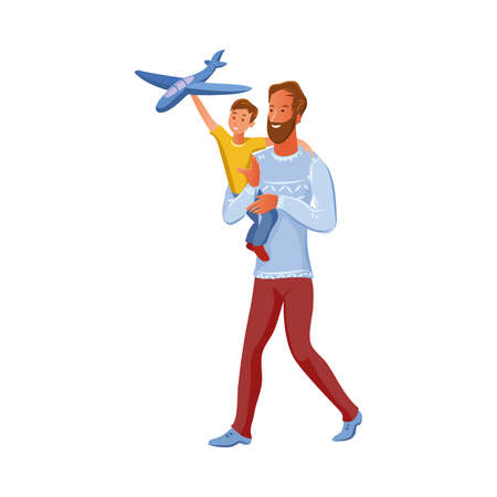 Bearded father holds his son on arms. The boy plays with airplane toy. Vector illustration in flat cartoon style. Stok Fotoğraf - 134704879