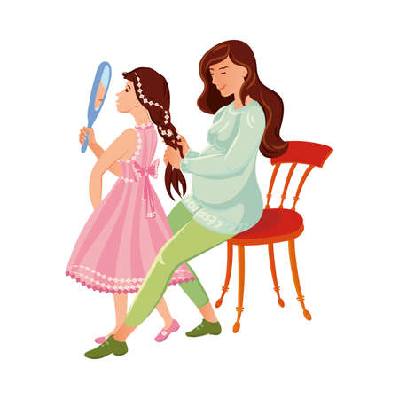 The pregnant mother combs her daughter s hair. The cute little girl in a pink dress looking in the mirror. Family relationship concept. Isolated vector illustration on white background. Illusztráció