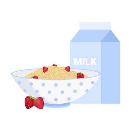 Milk porridge in bowl with fresh berries breakfast vector illustration