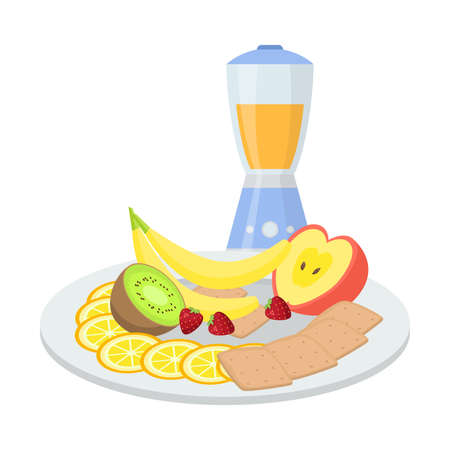 Breakfast with smoothie from fresh fruit and biscuits vector illustration