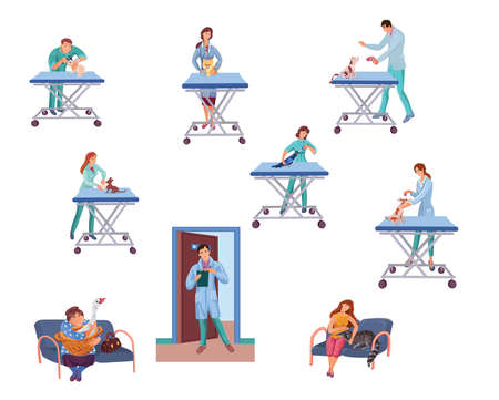 Set of veterinary doctors examining different animals in vet clinic. Vector colorful illustration in cartoon style