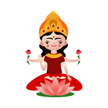 Hindu god sitting holding flowers in many hands vector illustration Ilustracja