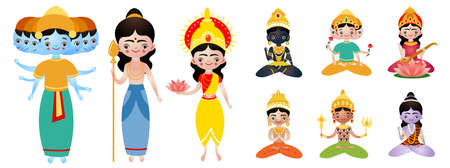 Set of different standing and sitting hindu deities vector illustration