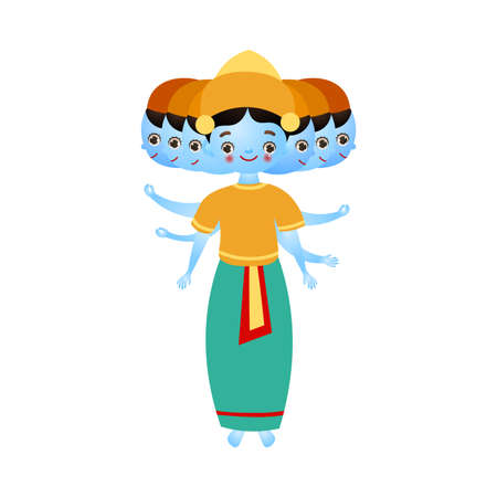 Hindu god with three heads in traditional clothing vector illustration