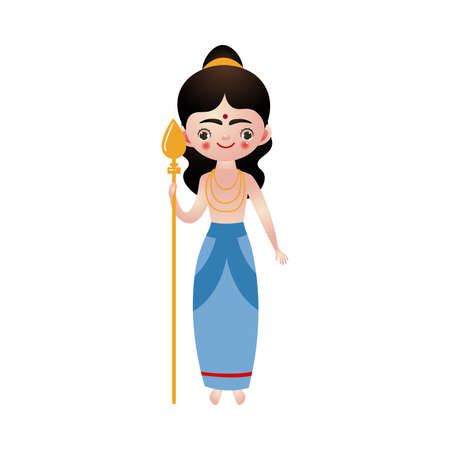 Hindu god holding golden rod in hand vector illustration