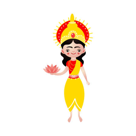 Indian hindu goddess with lotus flowers in hand vector illustration Ilustracja